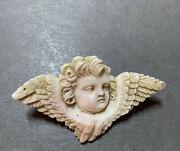 Antique Victorian Angel Skin Coral Cherub With Wings Pin