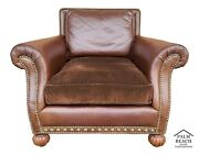 Mid Century Modern Leather Lounge Club Chair French Nail Head Trim