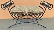 Vintage Italian Scrolled Wrought Iron Bench With Tasseled Faux Leopard Cushion