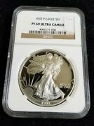 1993-p American Silver Eagle 1 Proof Ngc Pf 69 Ultra Cameo