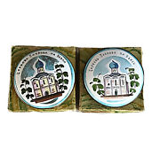 Lot Of 2 Antique 1970's Russian Compact Mirrors Hand Painted Enamel Souvenir