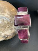 Native American Sterling Silver Navajo Purple Spiny Oyster Row Cuff Bracelet1407
