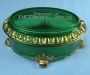 Footed Trinket Jewelry Box Souvenir Detroit Mi Eapg Green Glass And Gold Gilt