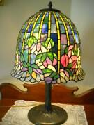 Scarce Dale Flowering Lotus Stained Glass Lamp W/ Dome Shade Stunning