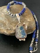 Mens Stunning Sterling Silver Navajo Pearls Lapis Necklace Azurite Pendant 01931