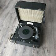 U.s. Army Special Services Library Of Congress Portable Record Player Military