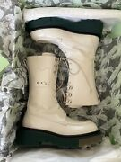 Off White Creme Lace Combat Boots Brand New With Dust Bag/ In Box Size 37.5 Eu