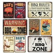 Cool Dadand039s Bbq Zone Barbeque Funny Retro Vintage Style Yard Metal Tin Sign Plate