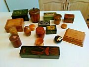 Job Lot Of 18 Antique And Vintage Wood And Lacquer Trinket Boxes 3302