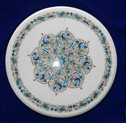30and039and039 Antique White Marble Table Top Inlay Malachite Center Coffee Home Decor W14