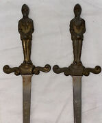 Pair Of Vintage Brass And Steel Medieval Soldier Sword Style Letter Openers