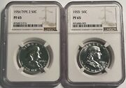 1955 To 1963 Franklin 50c All Graded Ncg Pf65 13010 1956 Is Type 2 1960