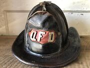 Antique Fire Helmet Cairns And Bros Leather Qfd Quincy Massachusetts