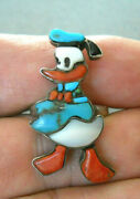 Old Native American Zunitunes Multi-stone Inlay Sterling Silver Donald Duck Ring