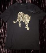 Authentic Versace Rare Golden Panther Black Ss Tee Shirt Brand New Size S Nwt