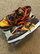 Nike Dunk Low Off White Michigan Size 10 Lightly Used University Gold