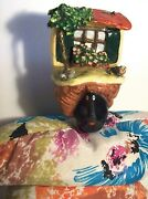 Rare French Poupee Millet Doll - Ceramic Head With Cat In Yard Signed Pablo 1989