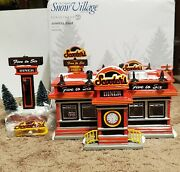 Department 56 Christmas Snow Village Dept Lighted House Scooters Diner W/ Box