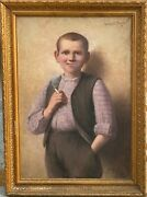 Painting Antique Zechariah Stick 1851-1925 - The Small Smoker - Cigarette1910