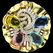 Mazer Baguette Gold Multicolour Gems Lily Pad Pave And Baguette Flower Swirls Pin