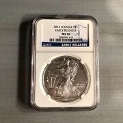 2012 W Burnished Silver Eagle Coin Dollar Ngc Ms70 Early Releases Blue Label
