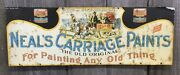 Amazing Antique 1910s20s Embossed Nealandrsquos Carriage Paints Advertising Tin Sign