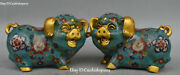8 Chinese Cloisonne Enamel Gilt Feng Shui Wealth Pig Pigs Animal Statues Pair