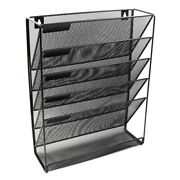 10xmetal Mesh Wall-mounted Magazine File Rack Office Desk 5 Layer Interval