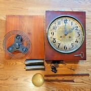 New Heaven Grandfather Clock Dial Movement Chimes Weights Chains Pendulum 1900-