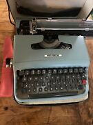 Vintage Portable Manual Typewriter Olivetti Italy Lettera 22 Blue/green W/ Case