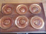 Dishes - Set Of Six Jeanette Anniversary Carnival Glass Dessert Or Bandb Plates