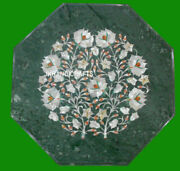 24 X 24 Green Marble Coffee End Table Top Mother Of Pearl Floral Inlaid