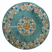 48 Green Marble Coffee End Table Top Gemstone Inlaid Work Home Decor Art
