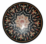 42 Black Marble Table Top Mother Of Pearl Inlay Work Hallway Decor Gifts