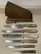 Vtg Case Xx Cutlery-the Early Americans- Kitchen Knives W/block Read