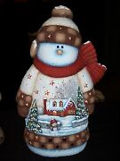 Ceramic Bisque Hand-painted Large House Scene Snowman