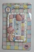 Vintage 1996 Precious Moments Baby Quilt And Heart Switchplate Cover