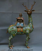 25 Old Chinese Cloisonne Copper Old God Of Longevity Ride Deer Lucky Sculpture