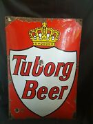 Vintage And039tuborg Beerand039 Advertising Signboard Porcelain Enamel Rare Collectible