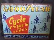 Vintage Good Year Cycle Tyres And Tubes Sign Porcelain Enamel Rare Collectibles