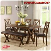6 Piece Dining Room Table And Chairs Set Farmhouse Wooden Kitchen Tables Furnitre