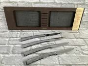 Set Of 4 Vintage Carvel Hall Precedent Stainless Steel Steak Knives With Tray
