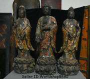 22.8old Tibet Cloisonne The Three Saints Of The West Guan Yin Buddha Statue Set