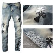 New Italy Pop Style Menand039s Cross Printing Pants Skinny Bleached Blue Jeans Ch723c