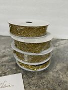 """Set Of 4 1"""" X 9' Decorative Gold Tinsel Ribbon By Valerie Parr Hill"""