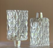2 Vintage Home Interior Clear Quilted Glass Votive Candle Shades Homco Beaded
