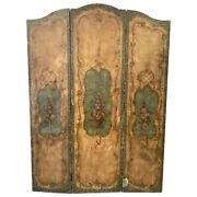 Antique French Hand Painted Tri-panel Leather Screen
