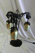 Art Deco Iron Table Lamp Gold Glass Shades Painted Finish After E Brandt