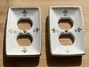 Vintage Pair Of Matching Porcelain Outlet Covers