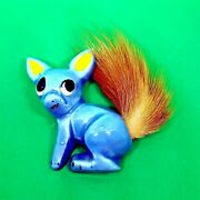 Elzac Brooch 1940s Pin Squirrel Or Fox Blue Brown Ceramic Fur Painted Pottery